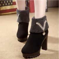 Wholesale Ankle Boots Women Fashion Bead Rain Winter Snow High Heels Martin Pointed Toe Boot Botas Femininas XWX882