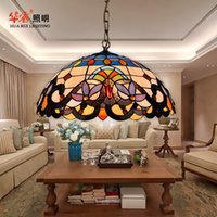 Wholesale tiffany multicolour glass retro chandeliers pendant lamp luxury brief lights restaurant study dining room light terrace Creative indoor