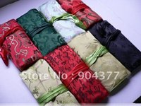 Wholesale Jewelry Gift Bags Mix color style inch Silk Printed Colorful Zipper Rope Jewellery Roll