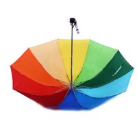 190T Nylon Fabric anti wind umbrella - New Folding Rainbow Full of Steel Reinforced Rainbow Colored Sun Umbrella Anti wind Guarda Chuva UV Paraguas Parasol