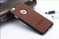 Wholesale Hard hybride PC case wood look pu Leather shockproof Back Cover For iphone s s PLus Inches