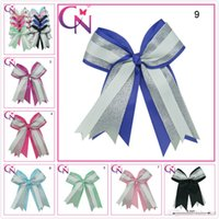 big cheerleading bows - Hot Inch Big Sequin Girl Ribbon hair bows With Elastic Handmade Cheerleading Boutique Striped Hair Accessories baby party Christmas gift