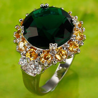 Wholesale 2015 Luxury Cluster Rings Free Ship AR7 mm Round Cut Peridot White Topaz Gems K White Gold Plated Ring Size7 Christmas Gift Cheap