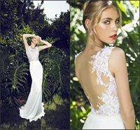 Cheap Lace Backless 2015 Sheer Wedding Dresses New Arrival Cheap Wedding Dress Jewel Stretch Satin Beach Bridal Gown Garden Sheath Wedding Gowns