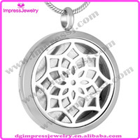 beautiful perfume - IJP0005 Beautiful Round Silver Tone Flower Stainless Steel Aromatherapy Essential Oils Diffuser Pendant Perfume Locket Necklace