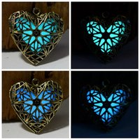 copper - 2015 Glow Necklace heart shape Hollow Pendant Antique Bronze Charms Glowing In The Dark Jewelry fashion novelty gifts box Necklace copper