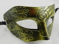 Wholesale Masquerade Masks Mens retro Greco Roman Gladiator masquerade masks Vintage Golden Silver Mask silver Carnival Mask Mens Costume Party Mask