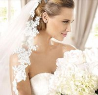 Wholesale Veils For Bridal Mantilla Cathedral Wedding Veil with Comb White Ivory Lace Edge Meters Long Bridal Veil Muslim Bridal Veils