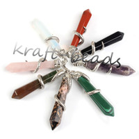 Wholesale Charms Silver Plated Mixed Gemstone Quartz Crystals Beads hexagon winding Snake Stone pendulum Pendant Jewelry