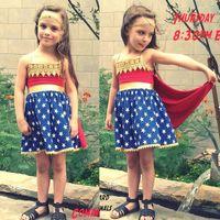 Wholesale UPS Baby Girls Dress Wonder Woman Dress with Handband Knit Cotton Kids Clothes Baby Clothing Wonderful Sources Princess Dresses