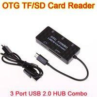 Wholesale 30pcs OTG Micro USB Adapter TF SD Card Reader port Combo USB HUB usb hub For Smartphone PC Samsung Galaxy S3 S4 Note