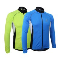 Wholesale Arsuxeo Men Long Sleeve Cycling Jersey Bicycle Bike Outdoor Spring Summer Sportswear Cloth Zippered Breathable with Rear Pockets Y0186
