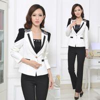 ladies pant suits - Pantsuits Women Pants Suits White Blazer Work Wear Set Elegant Formal Ladies Suits OL Office Uniform Styles