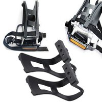 Wholesale 1pair Road Bike Pedals with Double Toe Clips Straps Plastic Cycle Pedal Bike Pedals Toe Clips Straps Set