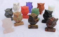Wholesale set hand made inch mix Owl stone rock Figurine decoration fortune Precious Home Decor gift Semi precious
