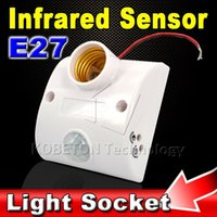 automatic socket - Body Infrared IR Sensor LED Bulb Light E27 Base Automatic PIR Motion Detector Wall Lamp W E27 Holder Socket