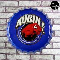 Wholesale 35 cm A beer bottle cap Sign Bar pub home Wall Decor Retro Metal Art Poster For Wall