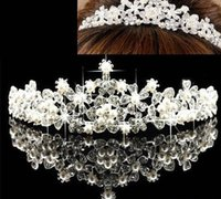 Wholesale GK In Stock Royal Glamour Bridal Tiaras Sparkling Crystals Princess Pearl Rhinestone Crown Headband Hair Accessories Party Wedding Tiara