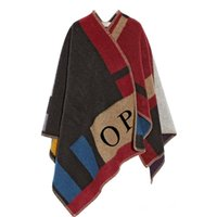 Wholesale S5Q Women s Loose Street Snap Knitted Cardigan Plaid Cape Poncho Shawl sweaters AAAFPI