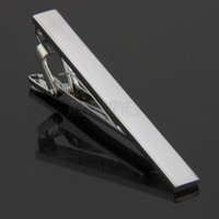 Wholesale S Men Metal Necktie Tie Bar Clasp Clip Clamp Silver Tone Simple Formal Tie Clips