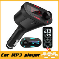 Wholesale 2015 NEW car charger BT car charger mp3 player mini AUX FM transmitter with red blue green led light LCD screen