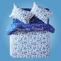 Textile new active dyeing cotton denim fashion blue minimalist 4 pcs queen  bedding set,bed linen duvet cover pillowcase bed