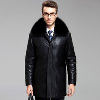 leather and fur garment - Fall new Warm Winter Sheep skin Men s Leather jackets and coats Nick garment rabbit fur collar Brand luxury