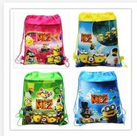 Wholesale 46 styles Frozen Children s Backpack Despicable Me Drawstring Bag Non woven The Avengers Backpacks Printed School Bags G075