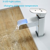 Wholesale KINSE Temperature Sensor Controlled LED Light Waterfall Spout Basin Sink Faucet Automatic Colors Changing Bathroom Mixer Tap