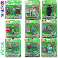skeleton key - Minecraft Steve Zombie Skeleton Enderman Building Block Toys Assembly Toys Compatible Action Toy Figures For Gift Minecraft creeper