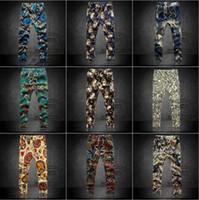 men capri pants - new casual men pants mens Harem Pants men s trousers floral print ankle length capri pants elastic waist pulg size