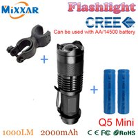 bicycle flashlight holder - ZK30 CREE Q5 Mini Bicycle Light LM LED Flashlight LED Front Torch High Power Light Zoomable Holder Battery