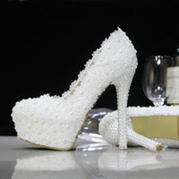 Pumps best female shoes - 2016 The new wedding shoes bride pearl diamond marriage lace manual female wedding white high heels best selling