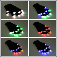 Wholesale 2015 Halloween Christmas LED gloves party glow gloves Concert noctilucent luminous gloves finger Flash gifts J082004 DHL FREESHIP