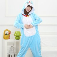 achat en gros de appartement animaux-Doraemon Cartoon Corail Velours Animal One Piece Pyjamas Hommes Femmes Couple Cute Appartement Toutes Saisons Pyjamas SY007