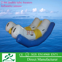 Wholesale blue white yellow pvc tarpaulin material seaters double tube inflatable water seesaw with one free air pump for water games