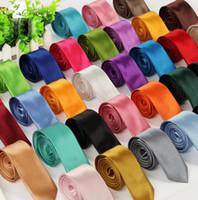 Wholesale Solid Color Necktie Narrow Version Of The British Men s Necktie Korean Casual cm Necktie Multicolor Sell Like Hot Cakes