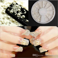 Wholesale Nail Art White Pearl Nail Art Stone Different Sizes Wheel Rhinestones Beads DIY Decoration pearl Wheel Case Nail Jewelry