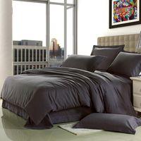 Wholesale Brief Home Textile cotton Sanding dark grey Solid wedding bedding set Europe designer bed sheet duvet cover king queen