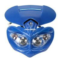 achat en gros de phare moto rue universel combattant-Universal Fashion Blue Moto Headlight Street Fighter Streetfighter tête lampe Fairing H / L faisceau pour Honda Yamaha Suzuki