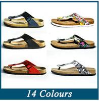 Wholesale New summer woman men flats Birkenstock sandals Cork slippers unisex casual shoes print mixed colors flip flop