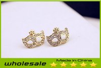 Wholesale 2014 New Women Alloy European Vintage Masks Earrings with Diamonds