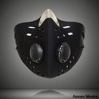 activate pants - Anti dust Breathable ski Mask Windproof skiing Half Face Mask With Filter Neoprene Activated Carbon Haze