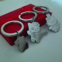 Wholesale Hight Quality L Stainless Steel Keychain Accessories Key Ring MM Cute bear cat design