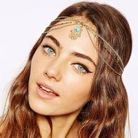 Cheap 17 Styles for Selection 2016 Fashion Women Bohemian Wedding Bridal Hair Accessories Metal Silver Gold Head Chain Hair Jewelry