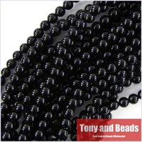 Wholesale in on strand MM Smooth Gemstone Black Onyx Agate Stone Beads for Jewelry Making No OB1