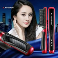 Wholesale Hair Straightener Hair Straighten Comb Tourmaline Ceramic Iron Kingdom Brand Hair Styling Tool Brush Flat Iron Hair Brush Comb