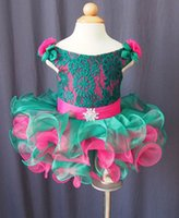 achat en gros de robes courtes rose vert-2015 Hot Sale broderie Lace Applique vert et rose Cute Little Girls Robe Robe manches manches à carreaux Ruffles courte Flower Girl Dress