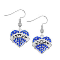 artist earrings - 50pairs Plated With Crystal Word Artist Crystal Heart Fashion Zinc Alloy Rhodium Drop Earring EH110138