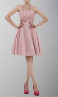 awesome image - Awesome Halter Draped Chiffon A Line Princess Short Bridesmaid Dresses Pearl Pink Latest